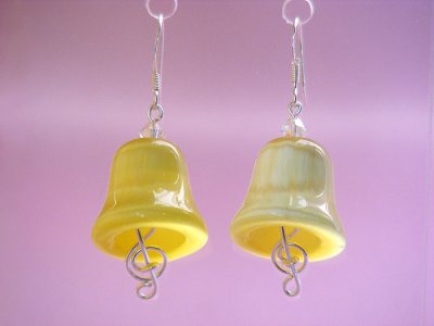 Yellow bell cat eyes music themed earrings