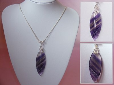 925 purple Fluorite music themed necklace