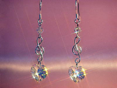 925 Swarovski crystal music themed earrings