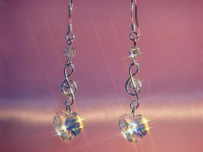 925 Swarovski crystal music themed earrings