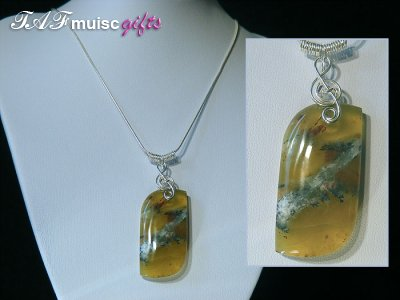 African green Opal music themed 925 necklace