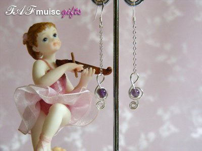 Amethyst treble clef music themed earrings