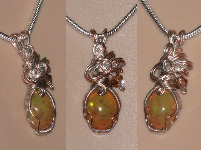 Antique effect hand cut opal Swarovski necklace