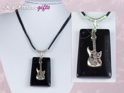 Black Agate music themed guitar necklace
