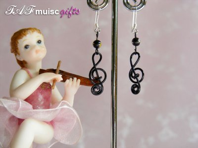 Black lampwork glass music themed earrings