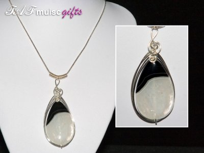 Black n white druzy Agate music themed necklace