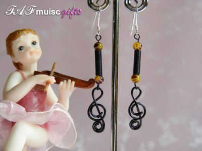 Black treble clef music note earrings