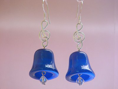 Blue bell cat eyes music themed earrings