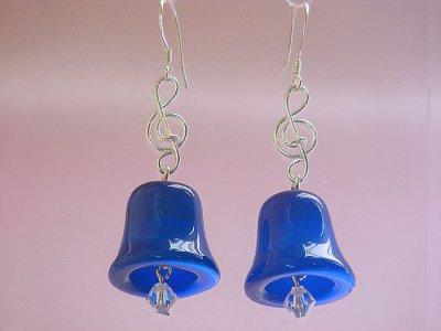 Blue bell cat eyes music themed earrings