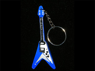 Blue flying V guitar key ring