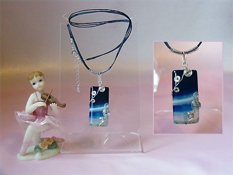 Blue rectangular Agate handmade music themed necklace