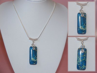 Blue rectangular Jasper handmade treble clef necklace
