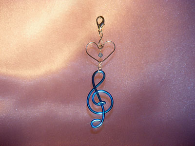Blue treble clef music note decoration
