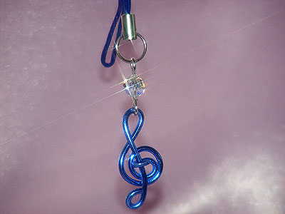 Blue treble clef Swarovski music themed phone charm
