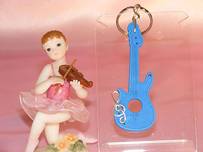 Blue wooden Strat guitar key ring