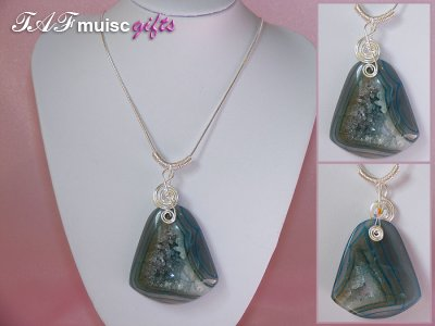 Blue bell druzy Agate handmade music themed necklace