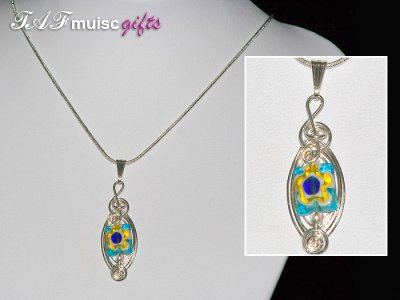 Blue flower Millefiori glass bead handmade necklace