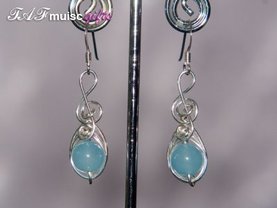 Blue gemstone Music themed earrings