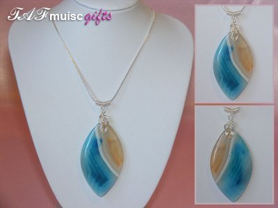 Blue marquis Agate handmade treble clef necklace