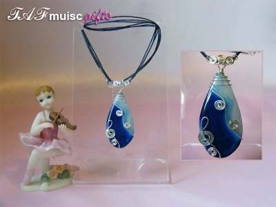 Blue pear drop Agate handmade music themed necklace
