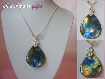 Bright Labradorite handmade music themed necklace