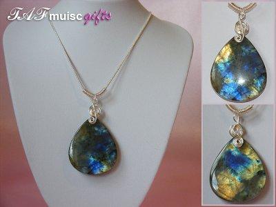 Bright Labradorite handmade music themed necklace