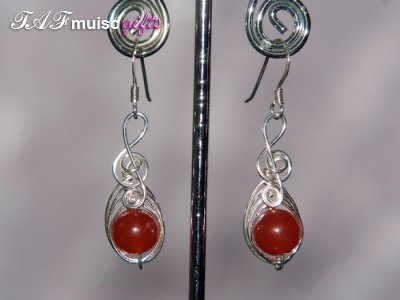Bright red Agate Music themed earrings
