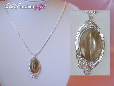 Brown oval Tourmaline handmade music themed necklace