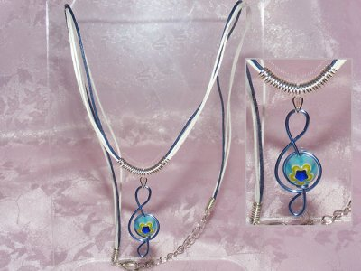 Bue Millefiori Glass bead Treble Clef Necklace