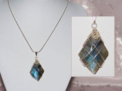 Diamond shape Labradorite handmade necklace