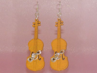 Funky orange violin Swarovski earrings