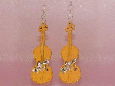 Funky orange violin Swarovski earrings