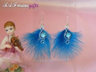 Funky blue feathers music themed earrings