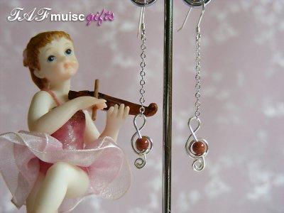 Gold sandstone treble clef music themed earrings