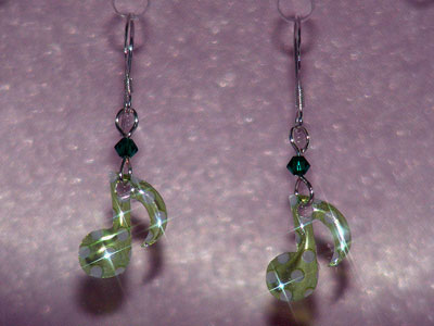 Green quaver music note Swarovski earrings