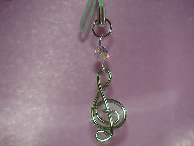 Green treble clef Swarovski music themed phone charm