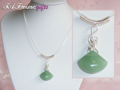 Green adventurine music themed necklace