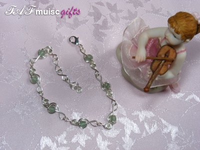 Green aventurine treble clef music themed bracelet