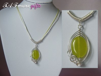 Green oval Peridot handmade music themed necklace