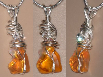 Hand cut free form opal Swarovski Necklace