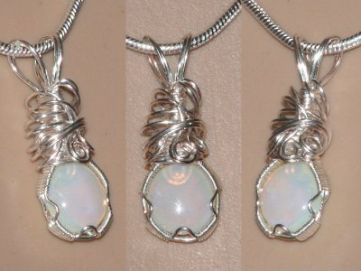 Handmade wire wrapped spiral hand cut opal necklace