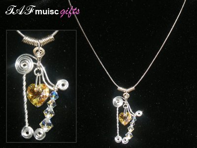 Handmade harp Swarovski crystal necklace