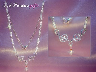 Handmade Swarovski crystal music themed necklace