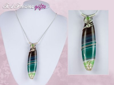 Handmade tribal style Green Agate necklace