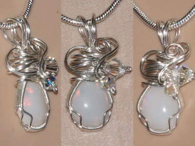 Heart design hand cut opal Swarovski necklace