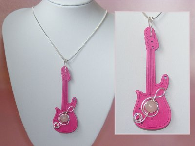 Hot pink guitar quartz long necklace