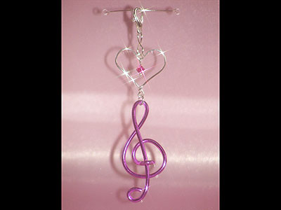 Hot pink treble clef music note decoration