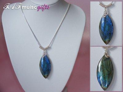 Marquis Labradorite handmade treble clef necklace