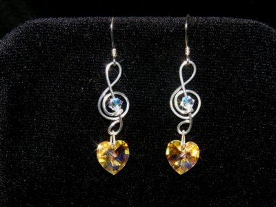 Music gifts heart Swarovski crystal earrings 925