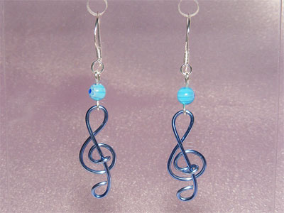 Music jewellery blue lampwork glass earrings